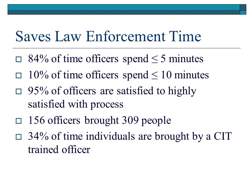 Saves Law Enforcement Time  84% of time officers spend ≤ 5 minutes  10% of time officers spend ≤ 10 minutes  95% of officers are satisfied to highl