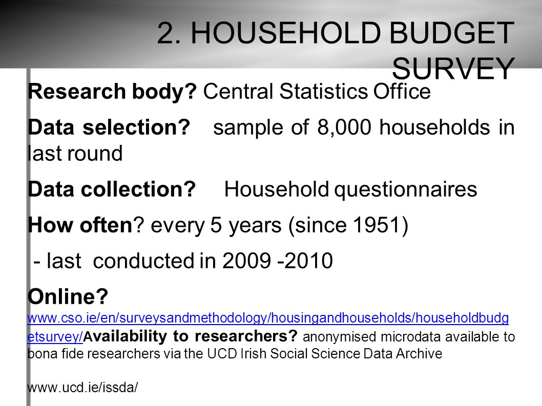 2. HOUSEHOLD BUDGET SURVEY Research body. Central Statistics Office Data selection.