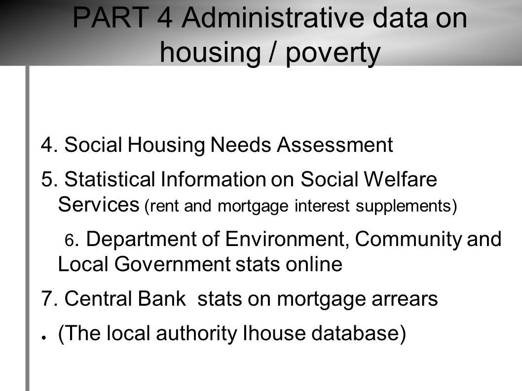 4. Social Housing Needs Assessment 5.