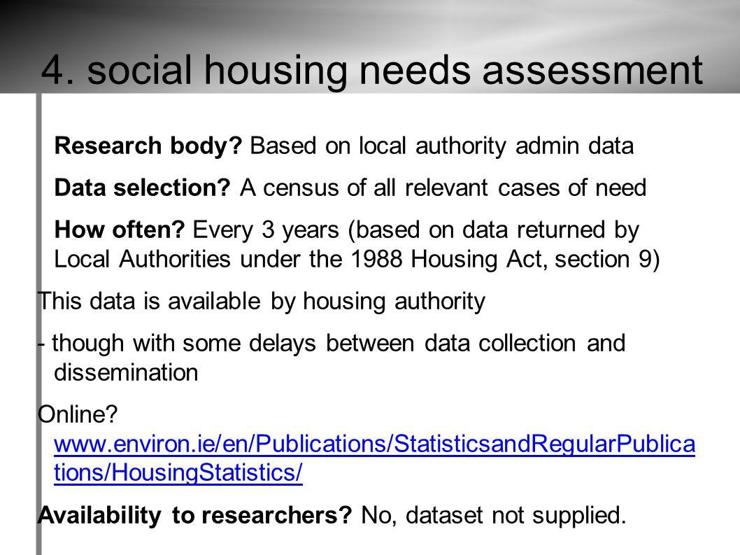 4. social housing needs assessment Research body.