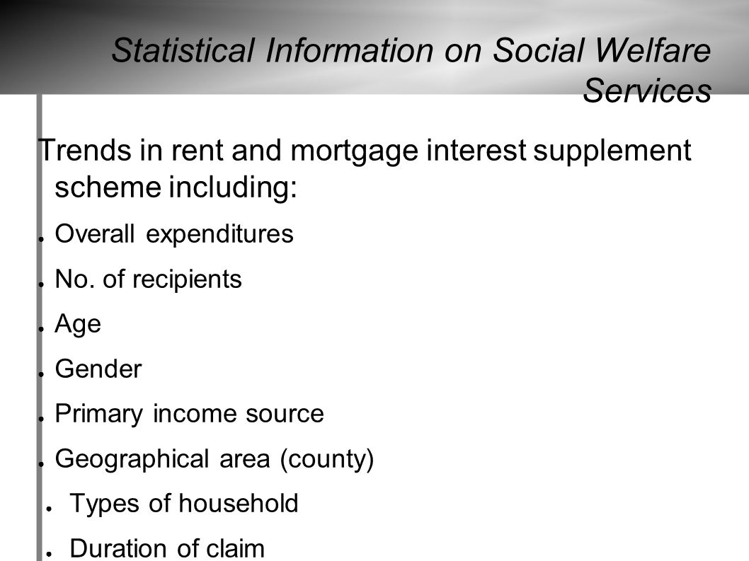Statistical Information on Social Welfare Services Trends in rent and mortgage interest supplement scheme including: ● Overall expenditures ● No.