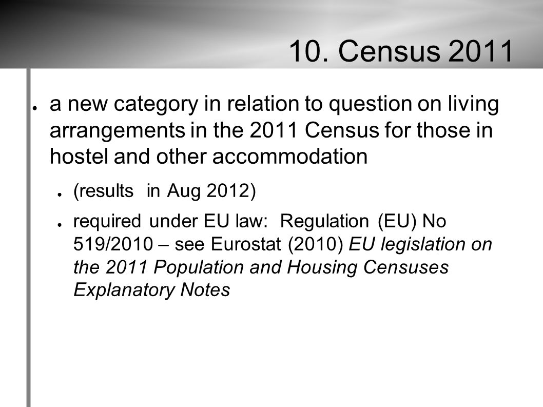 10. Census 2011 ● a new category in relation to question on living arrangements in the 2011 Census for those in hostel and other accommodation ● (resu