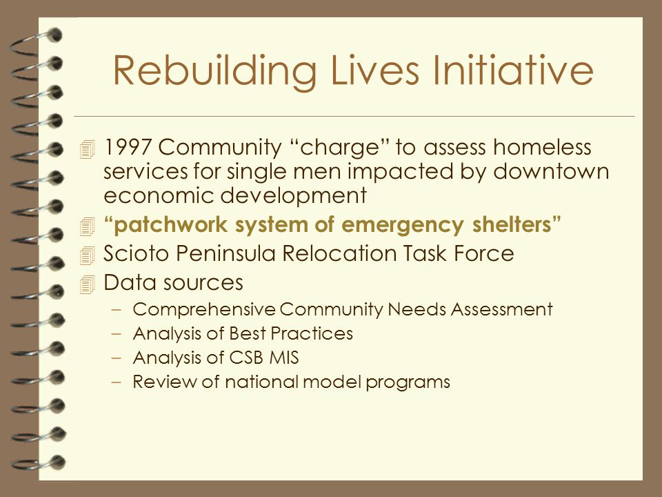 Rebuilding Lives Initiative 4 1997 Community charge to assess homeless services for single men impacted by downtown economic development 4 patchwork system of emergency shelters 4 Scioto Peninsula Relocation Task Force 4 Data sources –Comprehensive Community Needs Assessment –Analysis of Best Practices –Analysis of CSB MIS –Review of national model programs