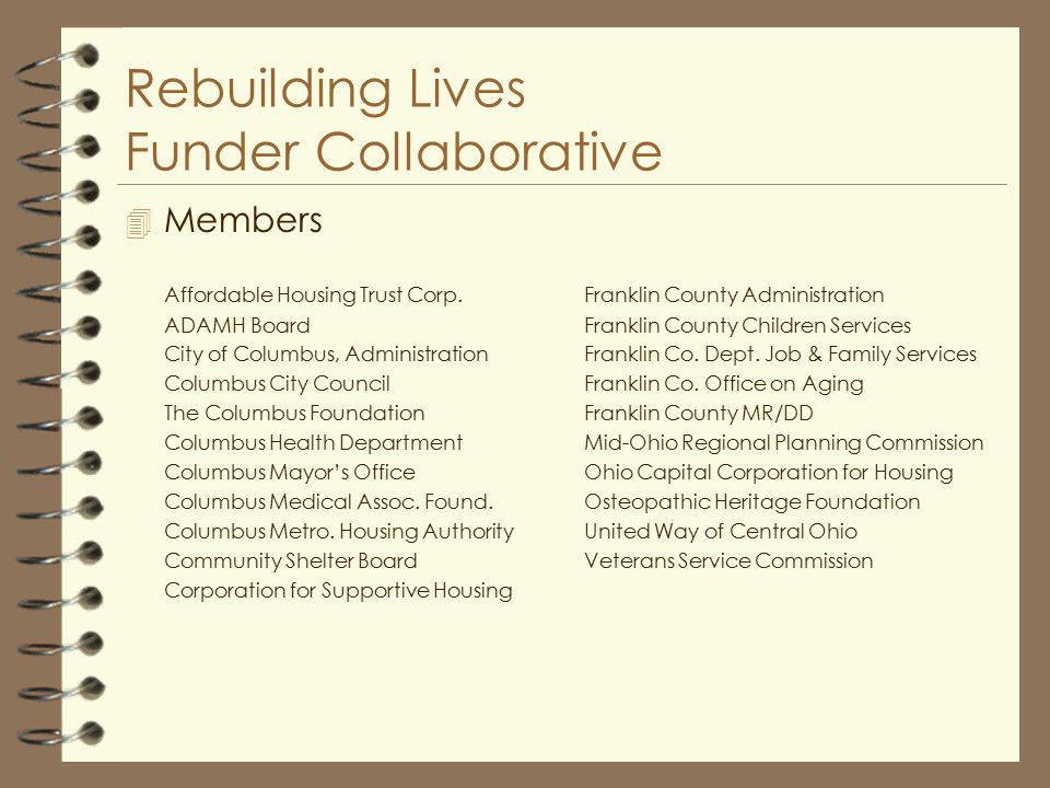 Rebuilding Lives Funder Collaborative 4 Members Affordable Housing Trust Corp.