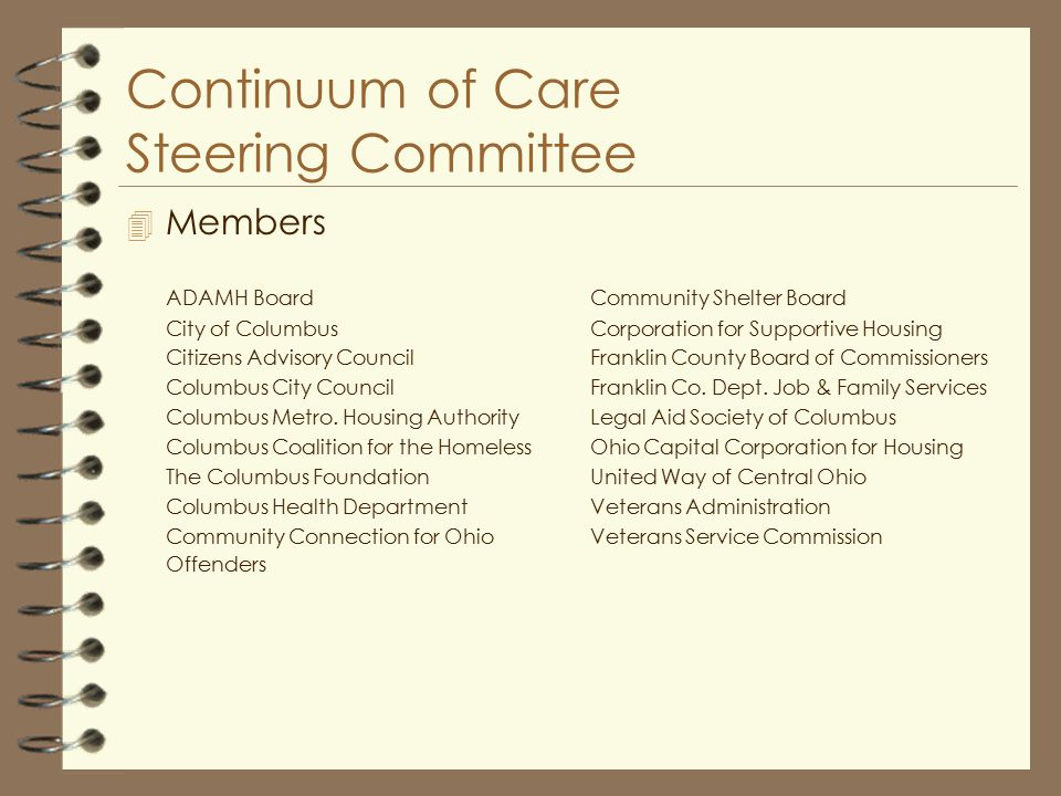 Continuum of Care Steering Committee 4 Members ADAMH Board City of Columbus Citizens Advisory Council Columbus City Council Columbus Metro.