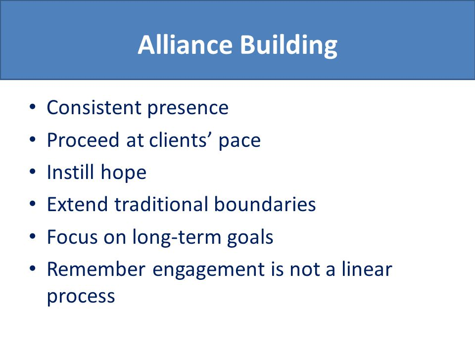 Alliance Building Consistent presence Proceed at clients' pace Instill hope Extend traditional boundaries Focus on long-term goals Remember engagement is not a linear process