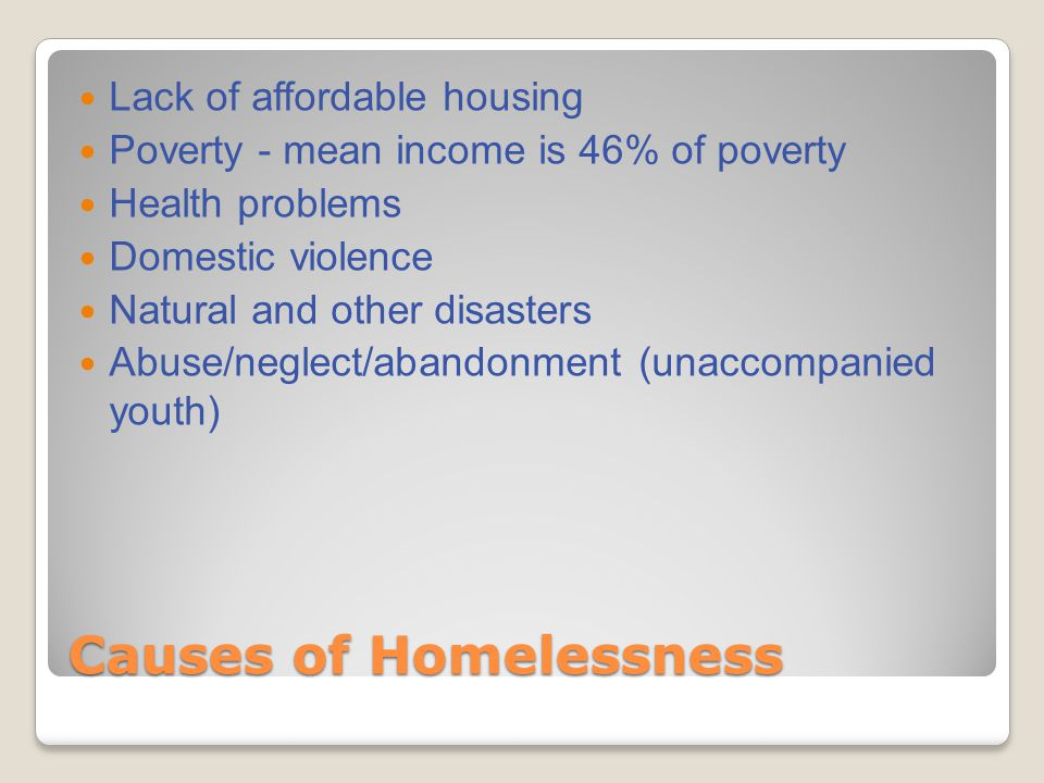 Causes of Homelessness Lack of affordable housing Poverty - mean income is 46% of poverty Health problems Domestic violence Natural and other disasters Abuse/neglect/abandonment (unaccompanied youth)