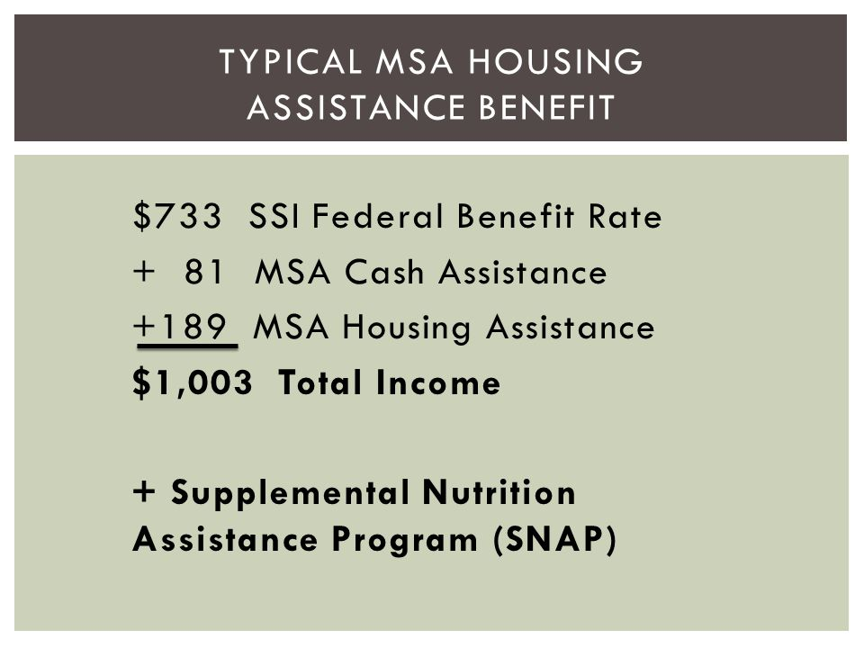 $733 SSI Federal Benefit Rate + 81 MSA Cash Assistance +189 MSA Housing Assistance $1,003 Total Income + Supplemental Nutrition Assistance Program (SN