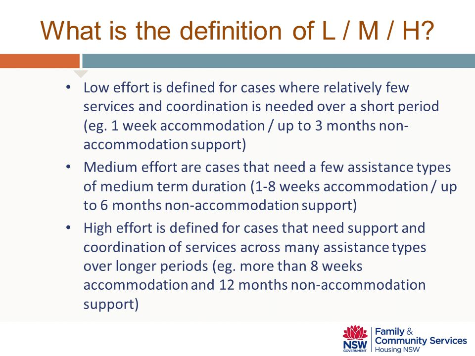 What is the definition of L / M / H.