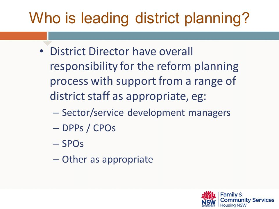 Who is leading district planning? District Director have overall responsibility for the reform planning process with support from a range of district