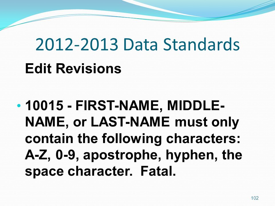 2012-2013 Data Standards Edit Revisions 10015 - FIRST-NAME, MIDDLE- NAME, or LAST-NAME must only contain the following characters: A-Z, 0-9, apostrophe, hyphen, the space character.