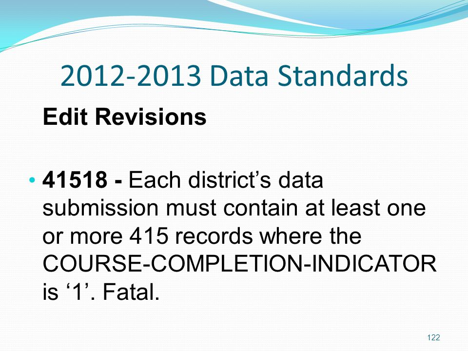 2012-2013 Data Standards Edit Revisions 41518 - Each district's data submission must contain at least one or more 415 records where the COURSE-COMPLETION-INDICATOR is '1'.