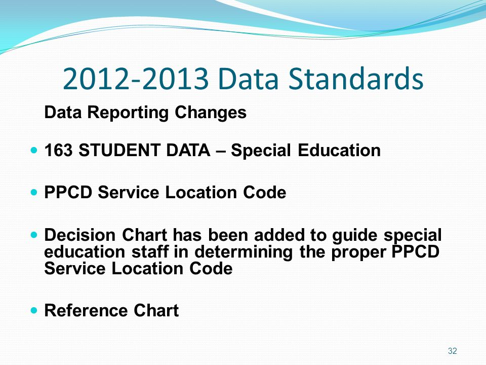 2012-2013 Data Standards Data Reporting Changes 163 STUDENT DATA – Special Education PPCD Service Location Code Decision Chart has been added to guide special education staff in determining the proper PPCD Service Location Code Reference Chart 32