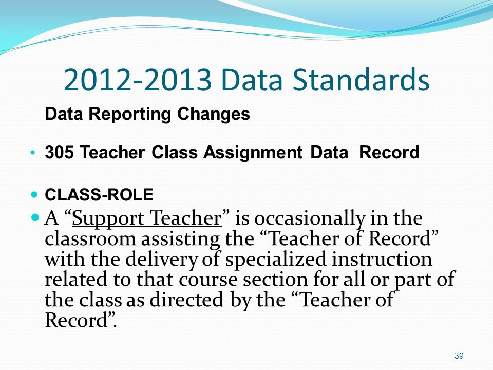 2012-2013 Data Standards Data Reporting Changes 305 Teacher Class Assignment Data Record CLASS-ROLE A Support Teacher is occasionally in the classroom assisting the Teacher of Record with the delivery of specialized instruction related to that course section for all or part of the class as directed by the Teacher of Record .