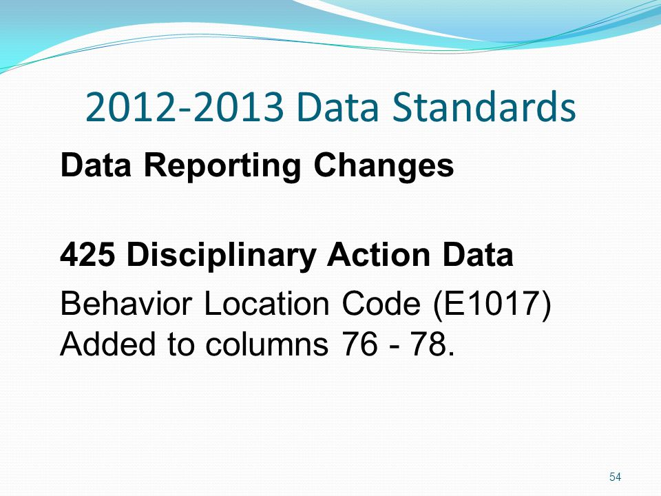 2012-2013 Data Standards Data Reporting Changes 425 Disciplinary Action Data Behavior Location Code (E1017) Added to columns 76 - 78.