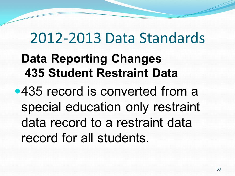 2012-2013 Data Standards Data Reporting Changes 435 Student Restraint Data 435 record is converted from a special education only restraint data record to a restraint data record for all students.