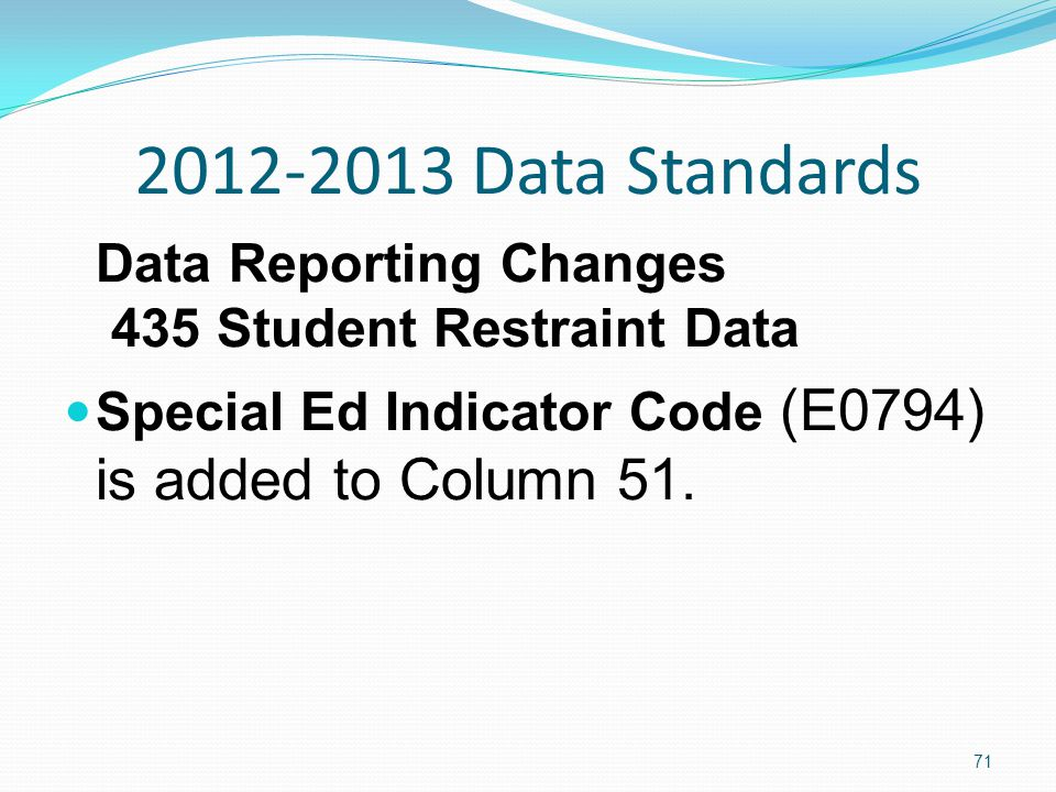 2012-2013 Data Standards Data Reporting Changes 435 Student Restraint Data Special Ed Indicator Code (E0794) is added to Column 51.