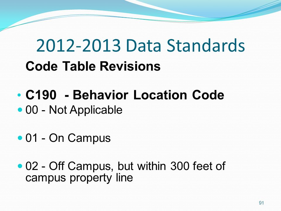 2012-2013 Data Standards Code Table Revisions C190 - Behavior Location Code 00 - Not Applicable 01 - On Campus 02 - Off Campus, but within 300 feet of campus property line 91