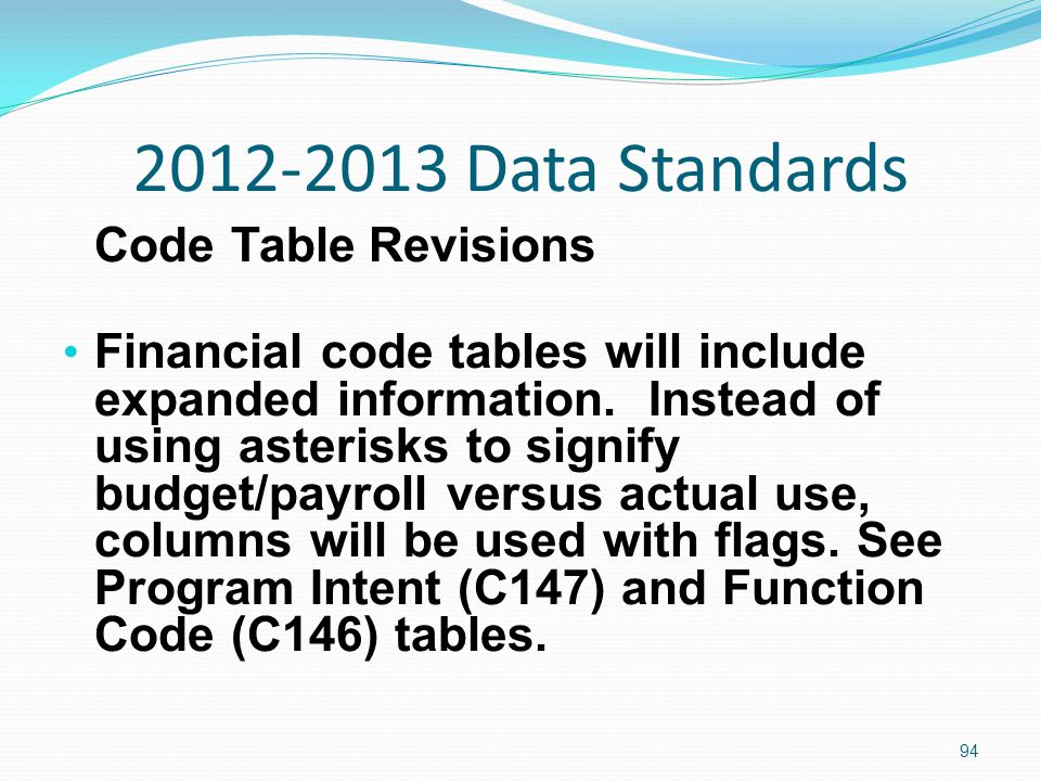 2012-2013 Data Standards Code Table Revisions Financial code tables will include expanded information.
