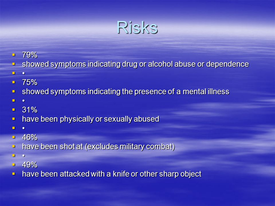 Risks  79%  showed symptoms indicating drug or alcohol abuse or dependence   75%  showed symptoms indicating the presence of a mental illness   31%  have been physically or sexually abused   46%  have been shot at (excludes military combat)   49%  have been attacked with a knife or other sharp object