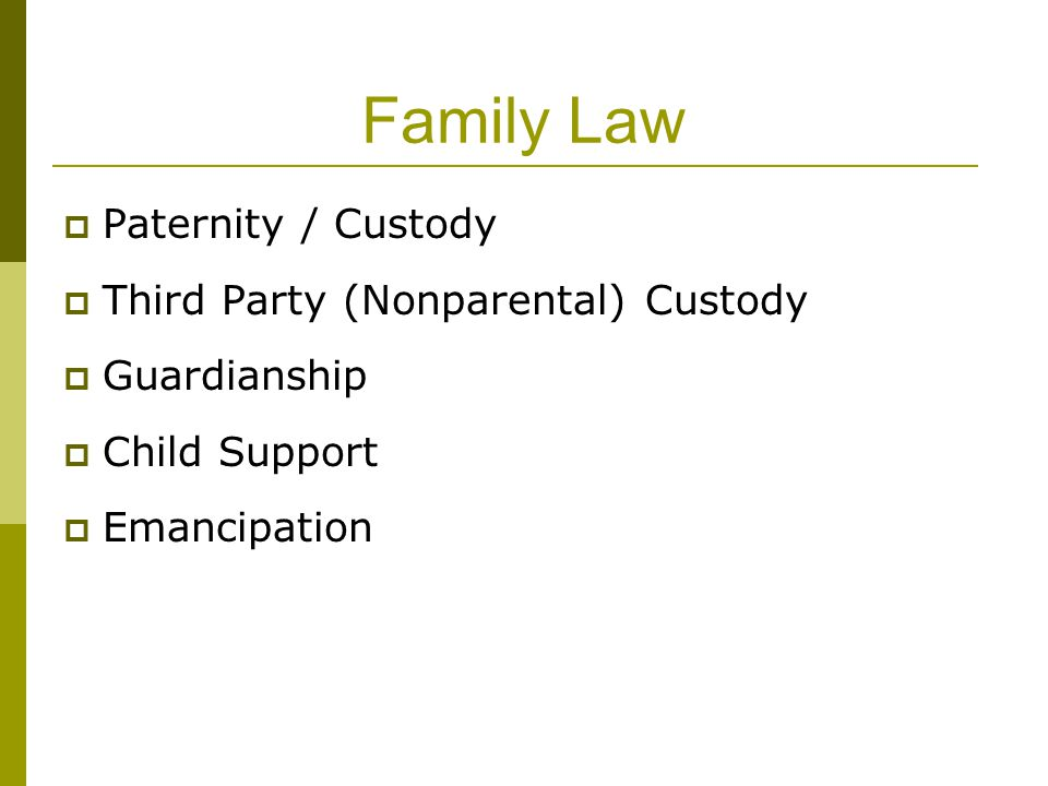 Family Law  Paternity / Custody  Third Party (Nonparental) Custody  Guardianship  Child Support  Emancipation
