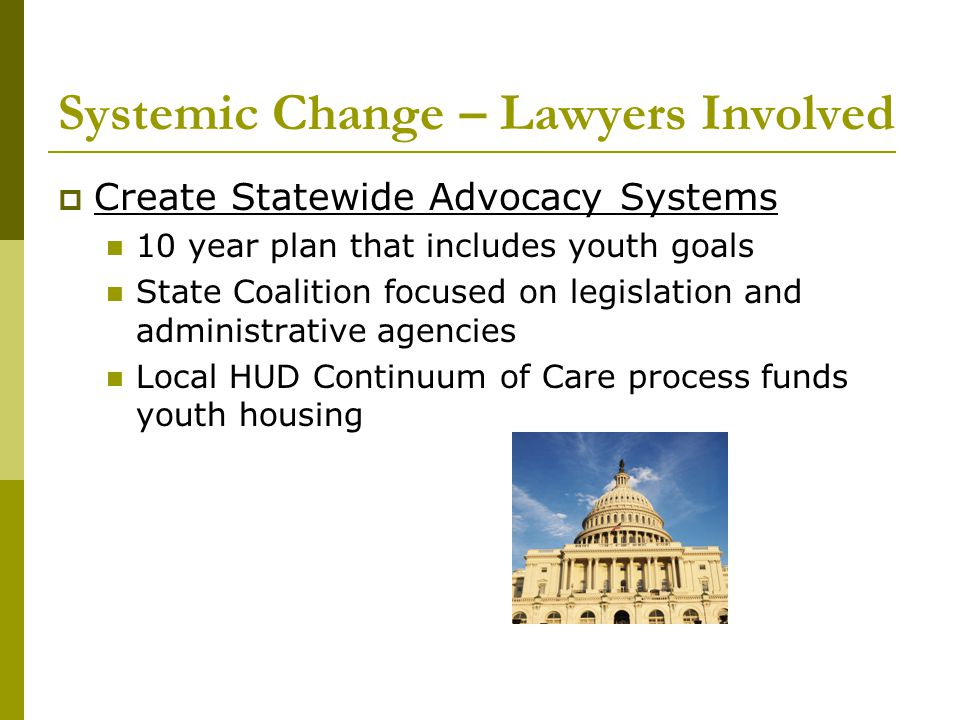Systemic Change – Lawyers Involved  Create Statewide Advocacy Systems 10 year plan that includes youth goals State Coalition focused on legislation a