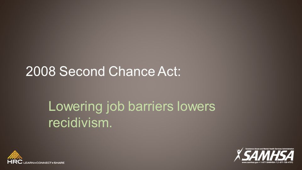 2008 Second Chance Act: Lowering job barriers lowers recidivism.