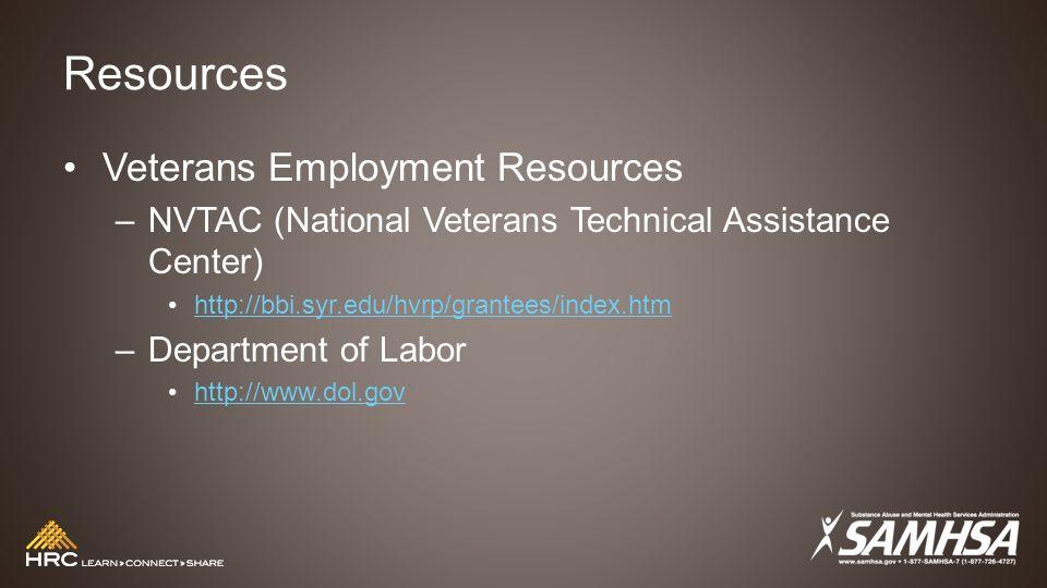 Resources Veterans Employment Resources –NVTAC (National Veterans Technical Assistance Center) http://bbi.syr.edu/hvrp/grantees/index.htm –Department of Labor http://www.dol.gov