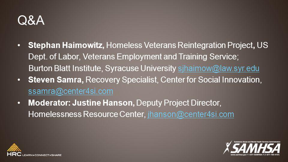 Q&A Stephan Haimowitz, Homeless Veterans Reintegration Project, US Dept.