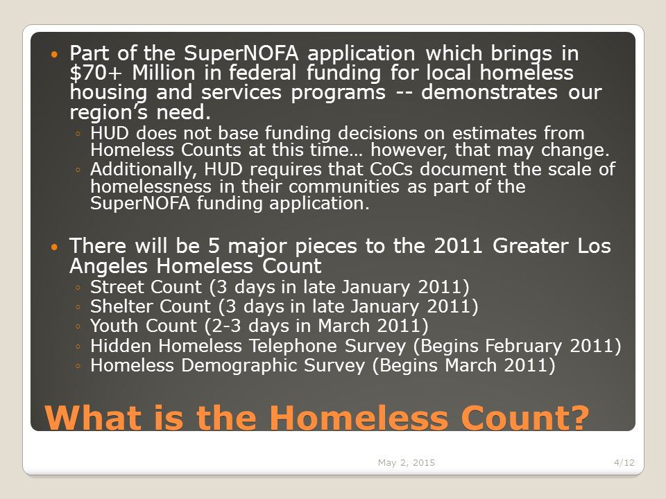 What is the Homeless Count.