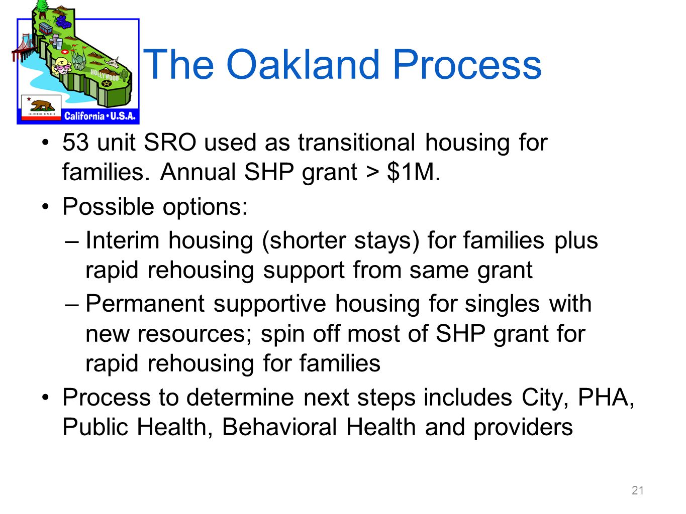 The Oakland Process 53 unit SRO used as transitional housing for families.
