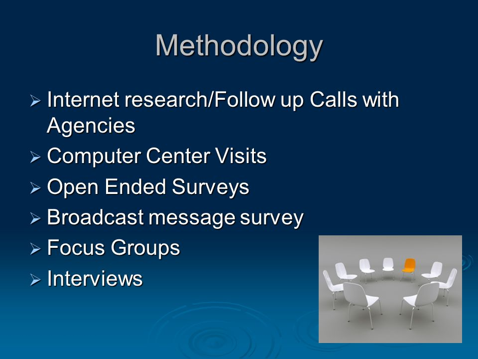 Methodology  Internet research/Follow up Calls with Agencies  Computer Center Visits  Open Ended Surveys  Broadcast message survey  Focus Groups  Interviews