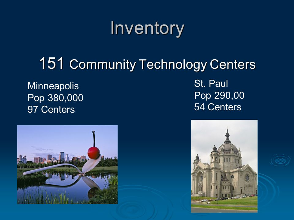 Inventory 151 Community Technology Centers Minneapolis Pop 380,000 97 Centers St.