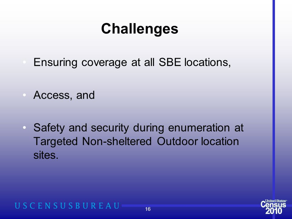 Challenges Ensuring coverage at all SBE locations, Access, and Safety and security during enumeration at Targeted Non-sheltered Outdoor location sites.