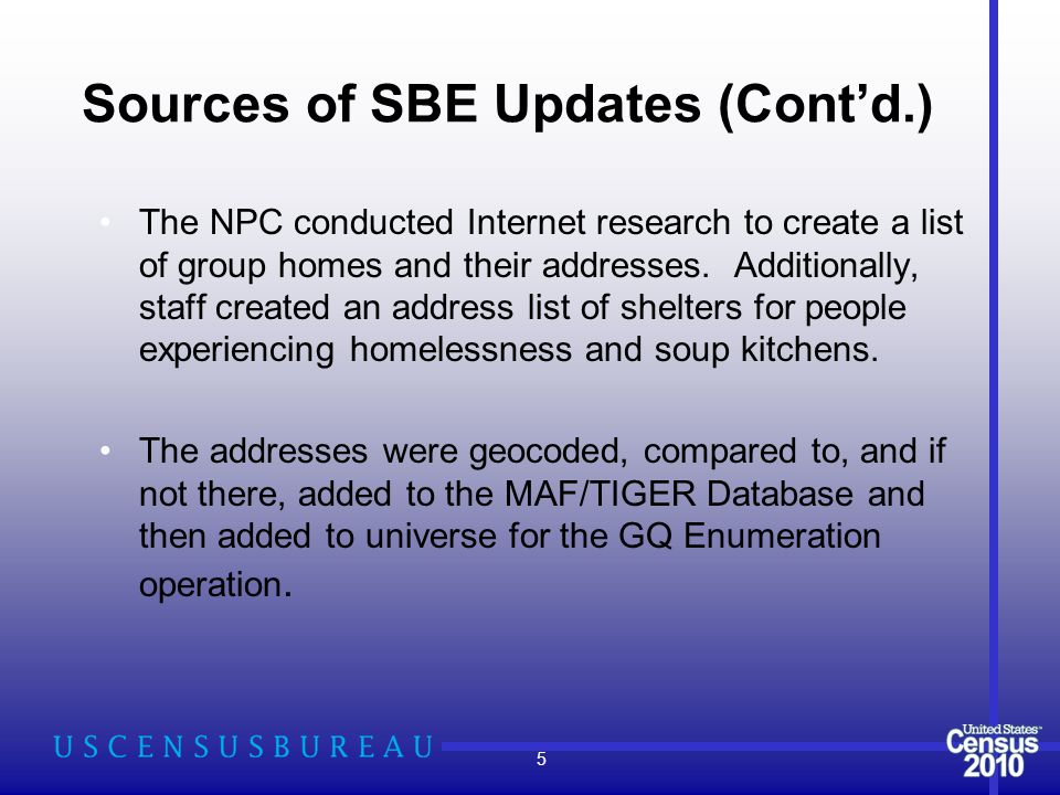 Sources of SBE Updates (Cont'd.) The NPC conducted Internet research to create a list of group homes and their addresses.