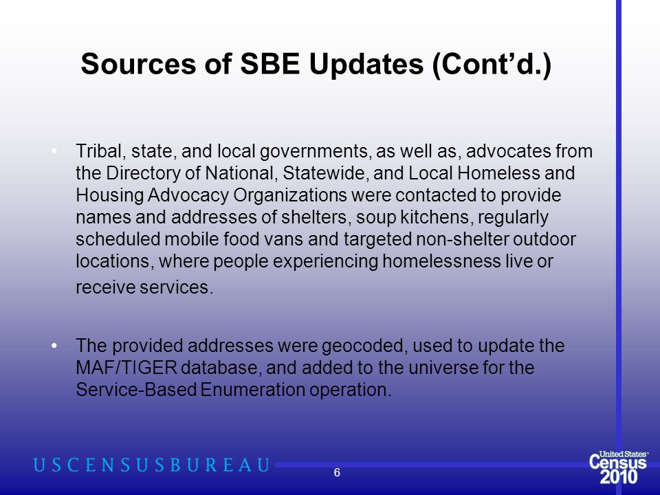 Sources of SBE Updates (Cont'd.) Tribal, state, and local governments, as well as, advocates from the Directory of National, Statewide, and Local Homeless and Housing Advocacy Organizations were contacted to provide names and addresses of shelters, soup kitchens, regularly scheduled mobile food vans and targeted non-shelter outdoor locations, where people experiencing homelessness live or receive services.