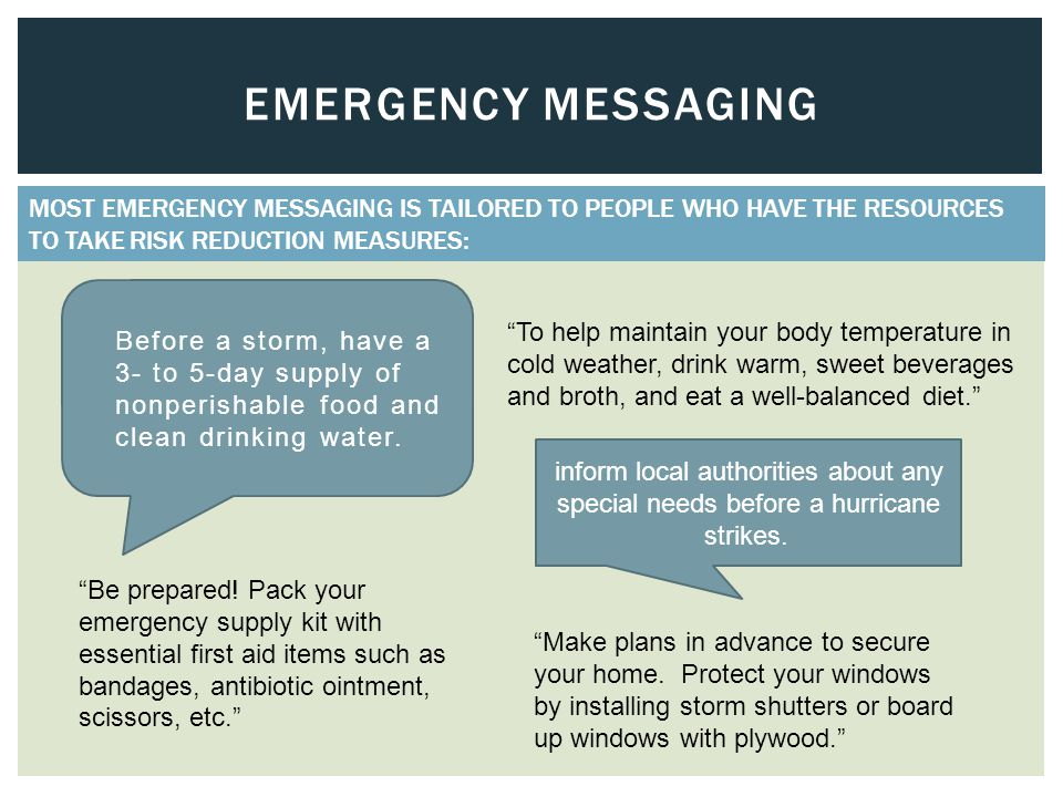 EMERGENCY MESSAGING  Before a storm, have a 3- to 5-day supply of nonperishable food and clean drinking water.