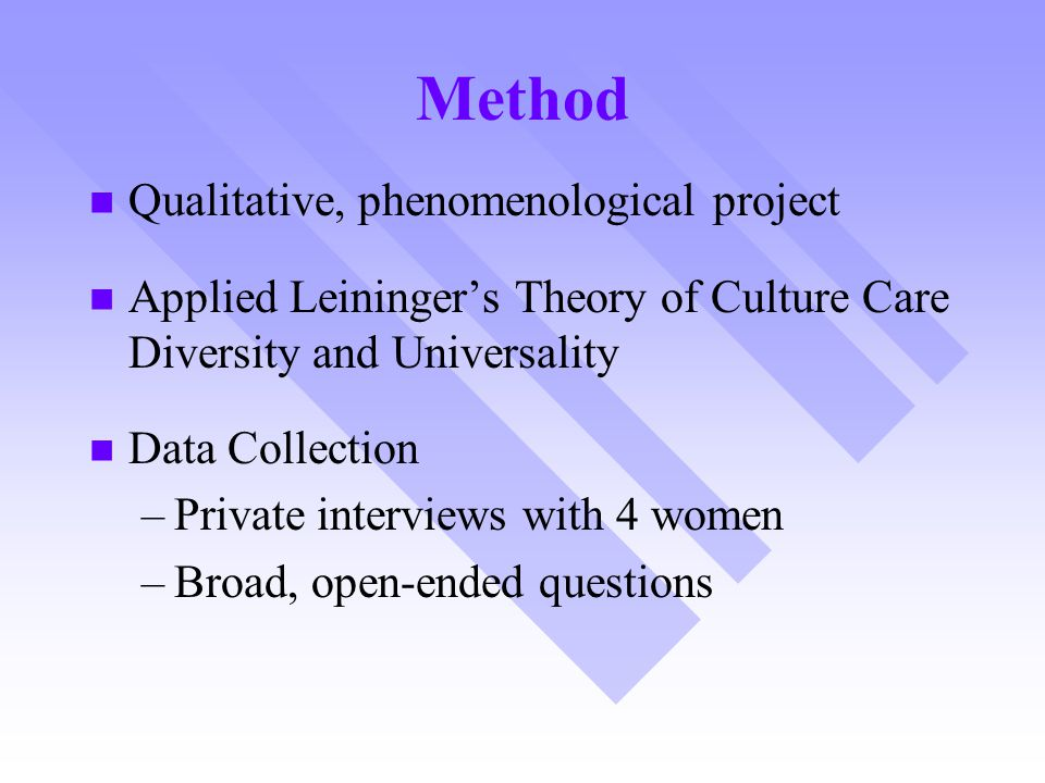 Method Qualitative, phenomenological project Applied Leininger's Theory of Culture Care Diversity and Universality Data Collection – –Private intervie