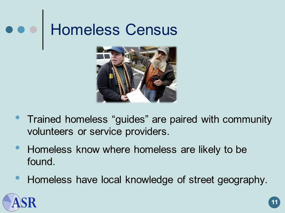 Homeless Census Trained homeless guides are paired with community volunteers or service providers.