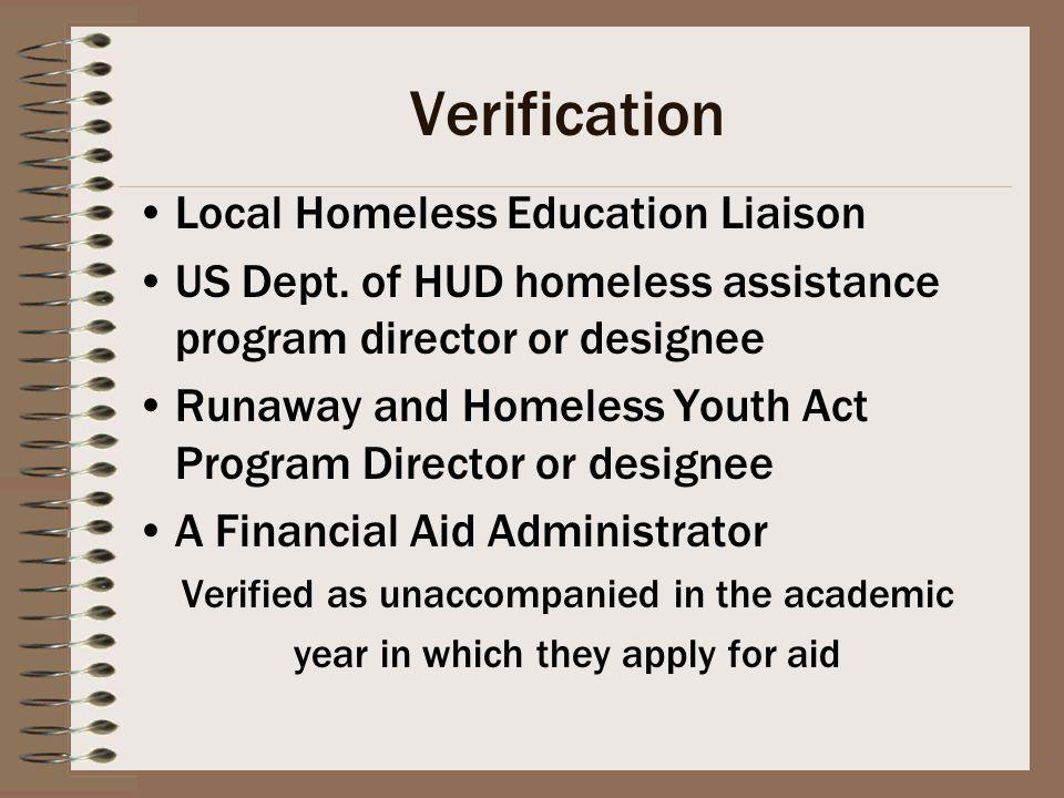 Verification Local Homeless Education Liaison US Dept.