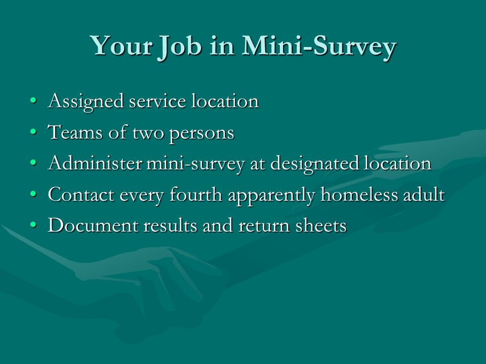 Your Job in Mini-Survey Assigned service locationAssigned service location Teams of two personsTeams of two persons Administer mini-survey at designated locationAdminister mini-survey at designated location Contact every fourth apparently homeless adultContact every fourth apparently homeless adult Document results and return sheetsDocument results and return sheets