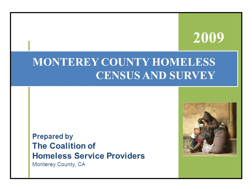 Executive Summary Monterey County 2009 Homeless Census and Survey June 2009 - 2 The Coalition of Homeless Services Providers and the 2009 Homeless Census Planning Committee identified the following goals for the Monterey County 2009 Census and Survey: Obtain accurate and updated data on the homeless population in Monterey County.