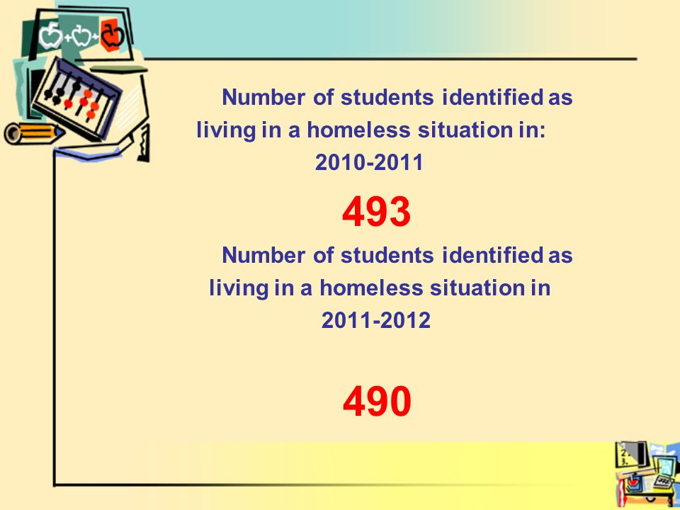 Number of students identified as living in a homeless situation in: 2010-2011 493 Number of students identified as living in a homeless situation in 2011-2012 490