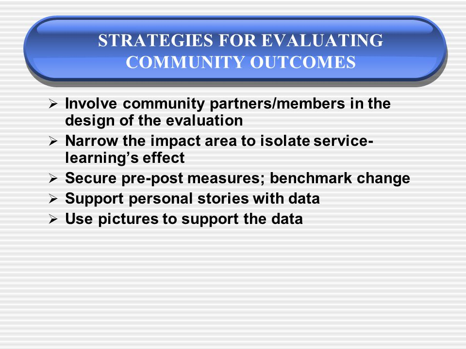 ASSESSING COMMUNITY OUTCOMES