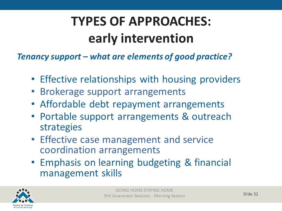 Slide 32 GOING HOME STAYING HOME SHS Awareness Sessions - Morning Session Tenancy support – what are elements of good practice? Effective relationship