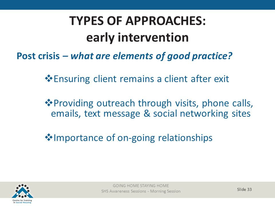 Slide 33 GOING HOME STAYING HOME SHS Awareness Sessions - Morning Session Post crisis – what are elements of good practice?  Ensuring client remains