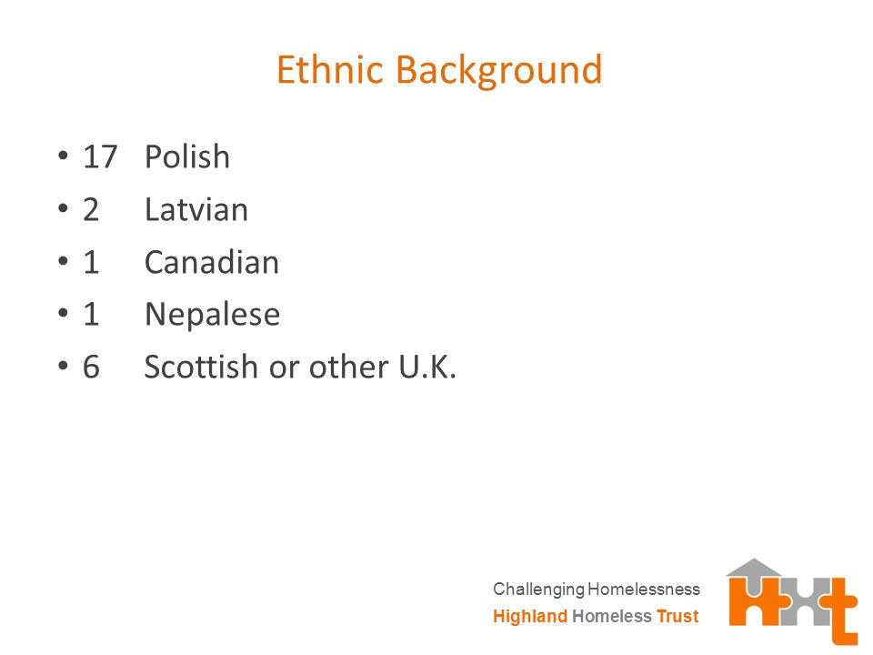 Ethnic Background 17 Polish 2 Latvian 1 Canadian 1 Nepalese 6 Scottish or other U.K. Highland Homeless Trust Challenging Homelessness