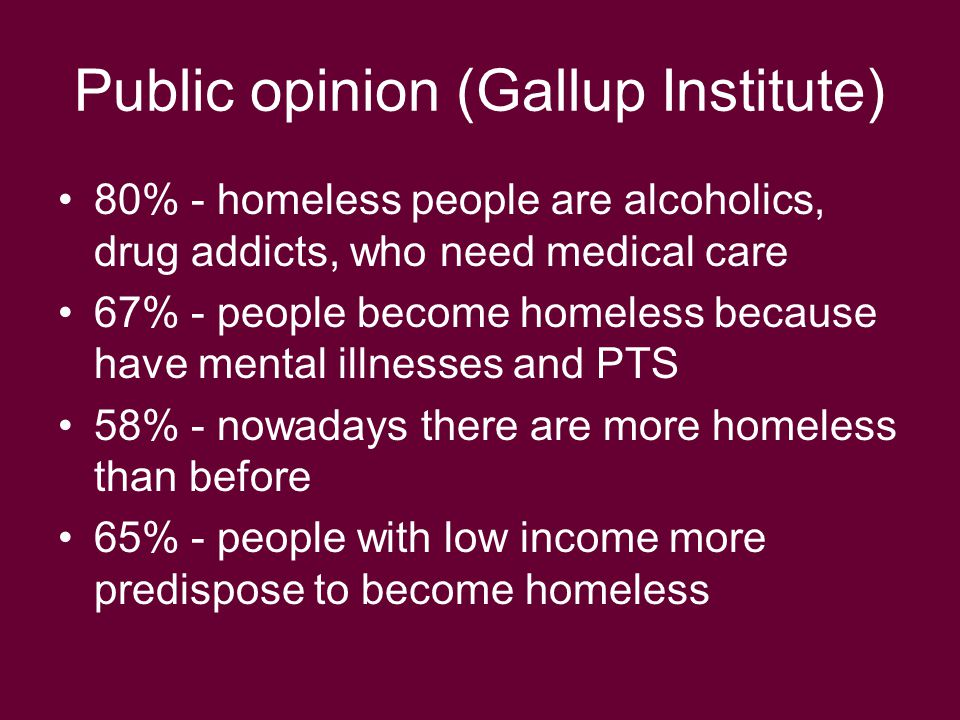 Public opinion (Gallup Institute) 80% - homeless people are alcoholics, drug addicts, who need medical care 67% - people become homeless because have mental illnesses and PTS 58% - nowadays there are more homeless than before 65% - people with low income more predispose to become homeless