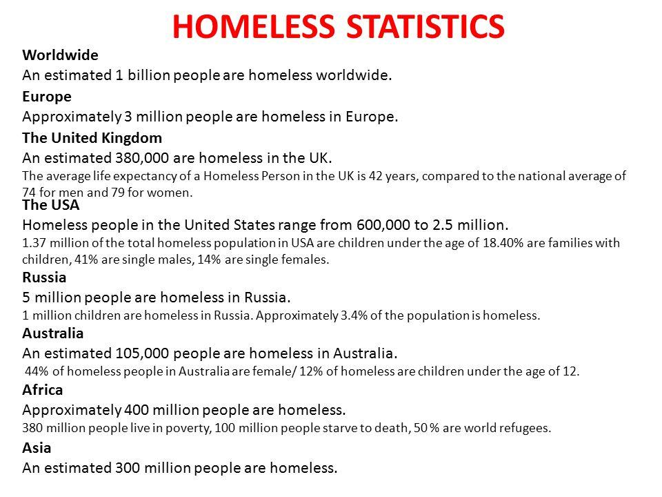 HOMELESS STATISTICS Worldwide An estimated 1 billion people are homeless worldwide. Europe Approximately 3 million people are homeless in Europe. Russ