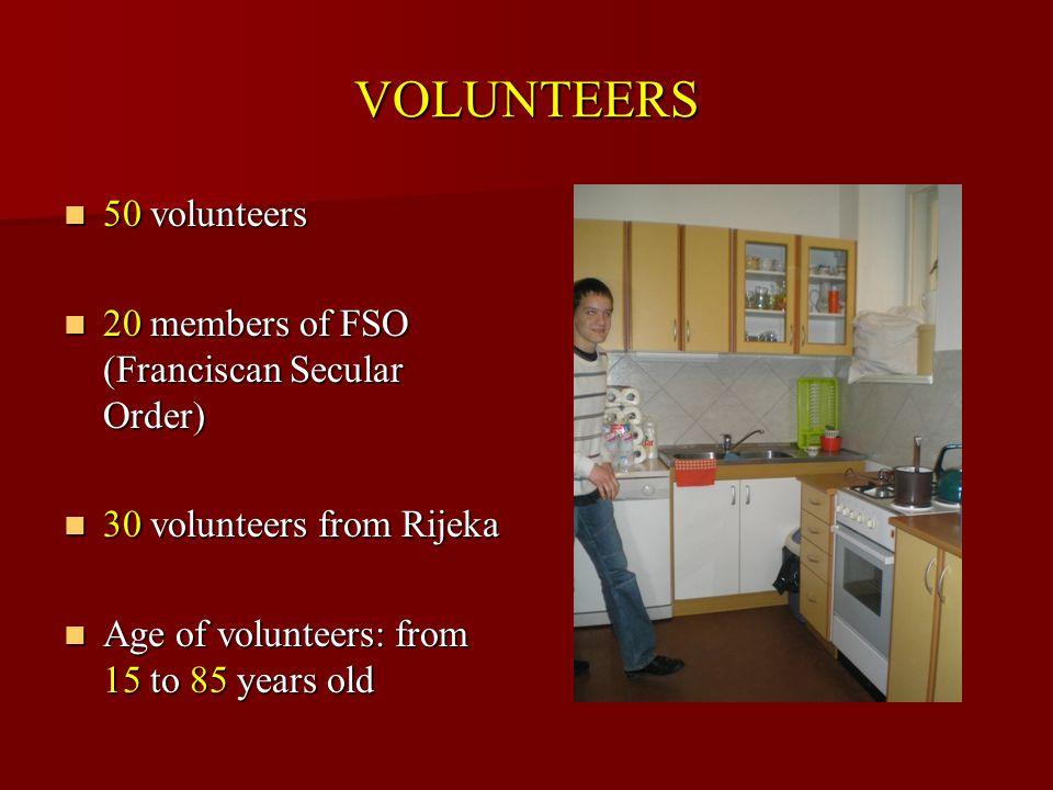VOLUNTEERS 50 volunteers 50 volunteers 20 members of FSO (Franciscan Secular Order) 20 members of FSO (Franciscan Secular Order) 30 volunteers from Rijeka 30 volunteers from Rijeka Age of volunteers: from 15 to 85 years old Age of volunteers: from 15 to 85 years old